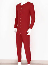 Men's Casual Long Sleeve Front Button Down One Piece Pajama Playsuit Jumpsuit