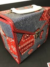 Vintage 45 Record Carrying Case--Denim/Bandana Pattern Free Shipping