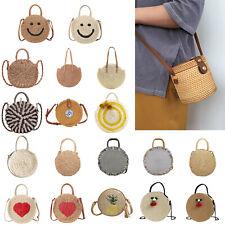 Summer Hand-Woven Rattan Bags Straw Purse Handmade Cross-body HandBags Round Lot