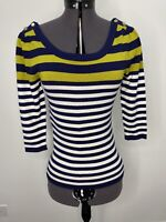 Review Striped Knit Top 3/4 Sleeves Gold Button Details Size 6 EUC