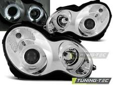 FARI ANTERIORI HEADLIGHTS MERCEDES W203 C-KLASA 07.00-03.04 ANGEL EYES CHROME *2