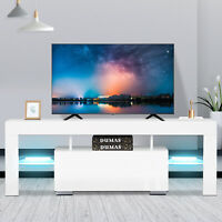 Modern White TV Stand Unit Cabinet Console Table w/ LED Light 2 Shelves RC