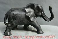 """12 """"Chine Jade vert sculpté Feng Shui Animal Elephant Statue de bon augure"""