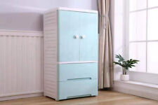 Large Wardrobe Tallboy Chest of Drawers For Kids Bedroom Blue White 4 Wheels