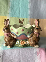 Majolica Ceramic Three Bunnies/Rabbits Holding Decorated Egg Bowl with Flowers