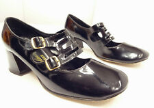 Vtg 60s Mod Del Mar Debs Patent Dual Buckle Strap Chunky Heel Mary Janes-8.5-9
