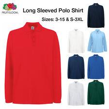 Ages 3-15 & S-3XL Plain Long Sleeve Polo Shirt School Sports Boys Mens Casual