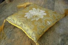 "Square Silk Tibetan Singing Bowl Cushion for Dharma 6"" Yellow and Gold"