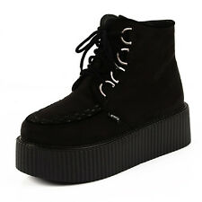 High Top Womens Suede Lace Up Flat Platform Creepers Shoes Boots
