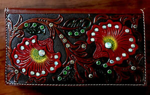NEW Tony Lama Brown Leather Wallet Tooled With Rhinestone Bling Red Flowers NEW