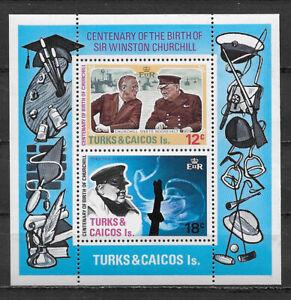 TURKS & CAICOS , WINSTON CHURCHILL , SOUVENIR SHEET, PERF , MNH