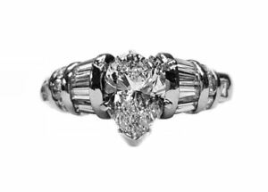 Pear Shape Diamond Engagement Ring w/Baguettes & Rounds Set in 14kt. White Gold