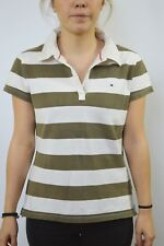 Tommy Hilfiger V Collar Olive Beige Stripes Short Sleeve Slim Fit Polo XL SLIM