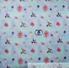 BonEful Fabric FQ Cotton Quilt Blue Pink Purple Hummingbird Bird Flower Garden S
