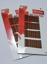 Annie Two Packs of 60 Bob Pins, Bronze (2'')