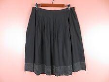 SK08970- TALBOTS Woman 100% Cotton Pleated Flared Skirt Black Beaded Trim Sz 14