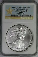 2015-W NGC American Silver Eagle MS69 Early Releases West Point Mint Star Label