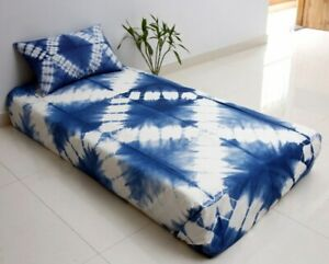 Ethnic Shibori Bedspread with 1 Pillow Case Tie Dye Cotton Throw Twin Bed Cover