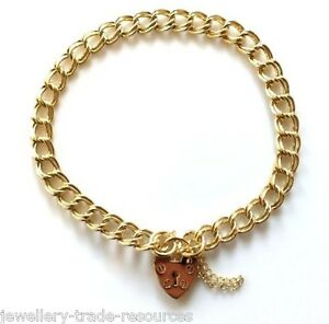 LADIES 9ct YELLOW GOLD CURB LINK CHAIN CHARM BRACELET WITH HEART PADLOCK 6mm