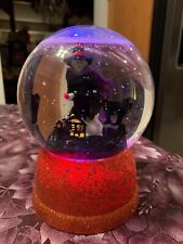 Halloween Color Changing Snowglobe Wicked Witch Moving Black Cats & Houses New