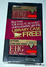 NEW TDK TC-30 E-HG VHS-C Camcorder Videocassettes W/FREE Library Case
