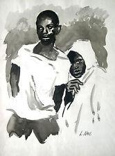 """Ludwig Luis Neu 1897-1980 Hamburg Wasserlos """"Negerpaar Brasilien"""" Tusche um 1970"""