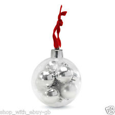 PACK OF 8 MINI BAUBLES IN A LARGE BAUBLE - SILVER & RED CHRISTMAS DECORATIONS BN
