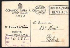 STORIA POSTALE REGNO 1936 Cartolina Franchigia da C. Tappa AO a Pistoia (FILT)