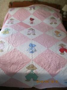 1940's Feed-Sack-Cotton Handmade Appliqued Quilt Sunbonnet Sue & Suspender Sam