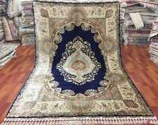 Navy Blue - Ivory Traditional Rug Fancy Hand-Knotted Rug 7' X 10' Silk