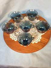 Six Vintage Antique Blue Carnival Glass Punch Bowl Cups