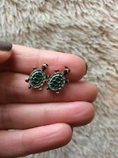 FREE GIFT BAG Bronze Crystal Enamel Turtle Tortoise Animal Stud Earrings Xmas