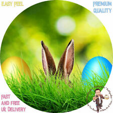 """EASTER BUNNY EARS AND EGGS 8"""" Premium Icing Sheet Customised Cake Topper"""