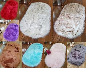 Luxury Faux Fur Sheepskin Soft Area Rug 2 x 4 Oval Thick Pile Shaggy Side Carpet