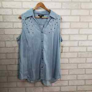 Style & Co NWT Sleeveless Chambray Button UP XL Blue Embellished Tunic Length