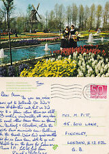 1985 HOLLAND IN BLOOM & NATIONAL COSTUME NETHERLANDS COLOUR POSTCARD