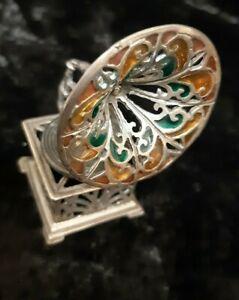 Miniature  Silver Vintage Classic Gramophone Enamel Inserts