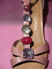 "Mauve Ankle Strap High Wedge Sandal with Big Gems ""Bauble"" by Libby Edelman 11M"