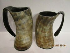 "2 Ale Horn Tankards 7"" & 8"""