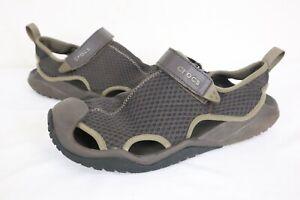 Mens Crocs Swiftwater Mesh Deck Sandal 205289 Espresso Size 10