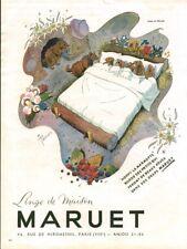 Publicité ancienne linge de maison Maruet 1948 issue de magazine dessin Pellos