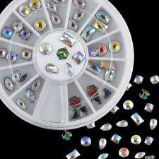 12 Styles 36pcs 3D Nail Art Glitter Iridescent AB Flat Rhinestones Decorations
