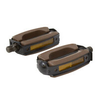 """Classic Vintage Bow Style Bicycle Pedal Krate Rubber Pedals 9/16"""" Brown/Black"""