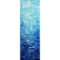 WATER Abstract Blue Gray White Turquoise vertical Narrow ORIGINAL Oil Painting