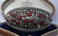 EXQUISITE Antique VINTAGE Solid SILVER Gem Set THAI Wide Cuff BANGLE Carnelian