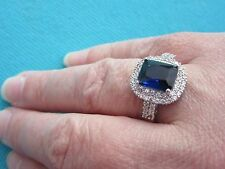 925 Sterling Silver Ring With Blue Quartz And White Topaz UK P 1/2, US 8(rg2752)