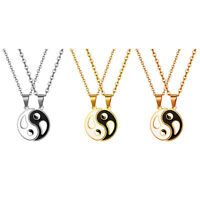 2pc Couples Friends Stainless Steel Yin Yang Tai Chi Bagua Pendant Necklace Gift