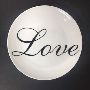 "World Market LOVE 8"" Plate Valentine's Day Amour Black White Cursive"