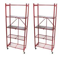 Origami 2 pack 5-Tier Steel Pantry Rack with Wooden Shelves and Caster Wheels