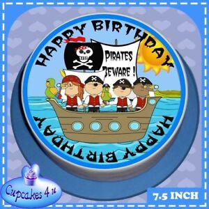 PRECUT EDIBLE ICING BIRTHDAY 7.5 INCH ROUND CAKE TOPPER BLUE PIRATE SHIP 8808L